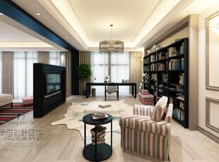 主卧空间很大,设计师以电视背景墙隔出两个区域,一是供主人休息的睡眠空间,一是学习工作的书房空间。墨黑色家具,点缀其他轻柔的色彩,在对比中彰显清浅淡然的格调。,800平,400万,中式,别墅,书房,黑白,