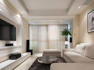 ,120平,7万,现代,三居,客厅,白色,