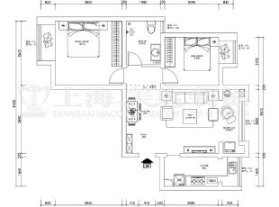 润城86平现代简约装修两室两厅装修户型方案图,86平,6万,现代,两居,