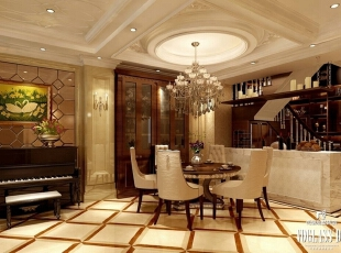 ,600平,90万,混搭,别墅,餐厅,黄色,原木色,