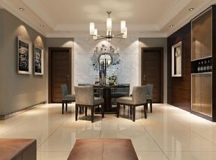 餐厅于运用了温馨的浅色调为主,餐厅背景墙采用石材作为装饰,在空间上给人一种协调感和延伸感。,182平,15万,现代,四居,餐厅,黑白,