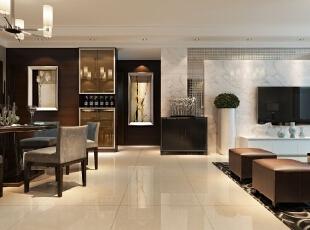 与客厅的设计合二为一,相互呼应。还运用两幅现代挂画,更符合现代人的审美品位,182平,15万,现代,四居,餐厅,黑白,