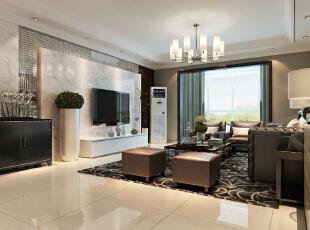 采用石材背景墙更能体现出现代风格的特色,线条有的柔美雅致,给人一种整齐简单的感觉。,182平,15万,现代,四居,客厅,黑白,