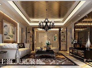 天怡佳苑装修130平时尚新古典三室两厅效果图案例——客厅全景效果图,无论是家具还是配饰均以唯美奢华的姿态,平和而内涵的气韵突出居室优雅主人之身份。异形石材与硬包的运用更是让整个方案更加完整。,130平,15万,新古典,三居,天怡佳苑装修,美巢装饰,装修装饰,装修优惠,装修团装,客厅,黑白,