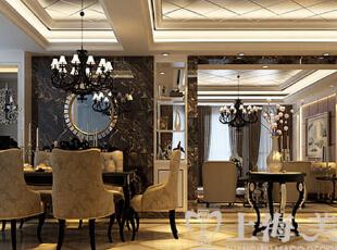 天怡佳苑装修130平时尚新古典三室两厅效果图案例——客餐厅全景,垭口的黑金花石材运用是整个空间的点睛之笔,完美的突出奢华的底蕴。书柜和垭口的设计让客餐厅既满足功能的使用又丰富了整个空间。,130平,15万,新古典,三居,天怡佳苑装修,美巢装饰,装修装饰,装修优惠,装修团装,餐厅,黑白,