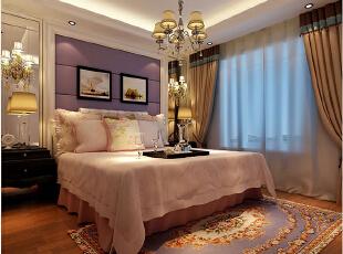 天怡佳苑装修130平时尚新古典三室两厅效果图案例——卧室效果图,女儿房的整体色彩把控以温柔浪漫又不失时尚感。软装的搭配以浪漫的粉紫色为基调营造出整体而又可爱的氛围。,130平,15万,新古典,三居,天怡佳苑装修,美巢装饰,装修装饰,装修优惠,装修团装,卧室,黄色,白色,