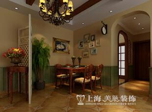 金域上郡装修案例120平三室两厅美式乡村风格效果图--餐厅,120平,7万,美式,三居,餐厅,绿色,原木色,