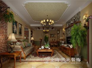 郑州金域上郡装修120平三室两厅美式乡村风格案例--客餐厅全景图,120平,7万,美式,三居,客厅,餐厅,原木色,