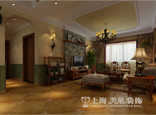 郑州金域上郡装修120平三室两厅美式乡村风格样板间案例--沙发背景墙装修效果图,120平,7万,美式,三居,客厅,原木色,