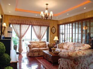 ,鲁能七号美式田园风格,客厅,原木色,春色,