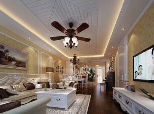 客厅的以白色调为主,米黄色壁纸,加上暗褐色的地板。色彩的同一,整个空间和谐共处,浑然一体,皮质沙发组合有着凹凸感以及流畅的木质曲线,将欧式家居的奢华与现代家居的实用性完美地结合。,138平,11万,欧式,三居,客厅,黄色,