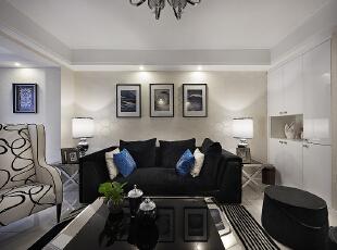 ,123平,16万,三居,现代,客厅,黑白,