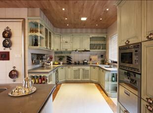 ,296平,48万,欧式,四居,厨房,绿色,原木色,