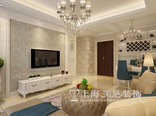 升龙又一城90平2室2厅简欧风格装修样板间——电视背景墙装修效果图,90平,6万,欧式,两居,客厅,