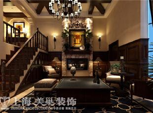 水映唐庄180平复式美式乡村装修方案——一楼电视背景墙装修效果图,180平,20万,美式,复式,客厅,