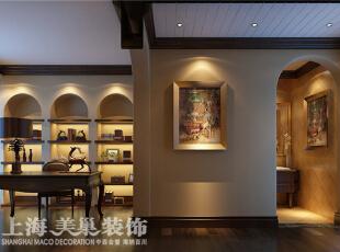水映唐庄180平复式美式乡村装修样板间——书房装修效果图,180平,20万,美式,复式,书房,