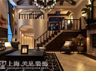 水映唐庄180平复式美式乡村装修样板间——一楼全景装修效果图,180平,20万,美式,复式,客厅,