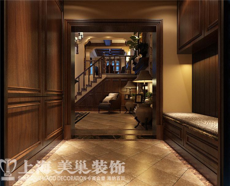水映唐庄180平复式美式乡村装修效果图——楼梯装修效果图