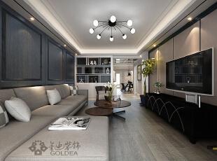 ,140平,10万,中式,三居,客厅,黑白,