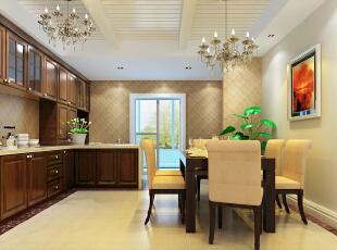 ,202平,40万,中式,三居,餐厅,厨房,原木色,黄色,