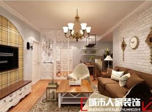 ,83平,7万,美式,两居,客厅,黄色,