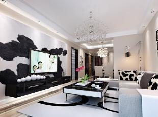 ,89平,9万,两居,现代,客厅,黑白,
