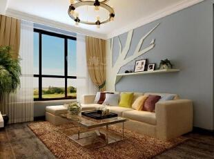 国龙绿城怡园90平两室两厅现代简约装修效果图-沙发背景墙,90平,3万,现代,两居,客厅,黄色,