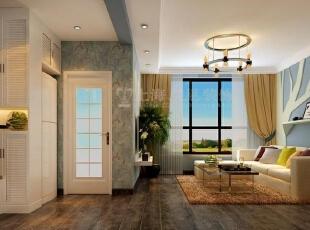 国龙绿城怡园90平两室两厅现代简约装修效果图,90平,3万,现代,两居,玄关,客厅,白色,春色,