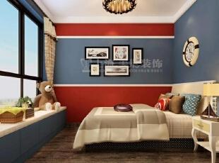 国龙绿城怡园90平两室两厅现代简约装修效果图-卧室效果图,90平,3万,现代,两居,卧室,蓝色,红色,