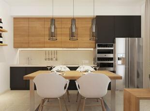 橱柜以黑色和木色搭配为主,操作区域的设计简洁合理,厨具的立面收纳十分节省空间。厨房电器的设置比较集中,但不会显得杂乱。餐厅的吊灯有着现代而美观的造型。,50平,5万,现代,一居,餐厅,原木色,黑白,