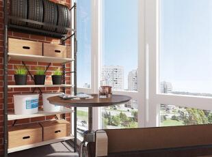 【阳台】 阳台的大落地窗带来了宽阔的视野,置物架可以用来堆放杂物,再放一把圆桌,一张椅子,在闲暇时刻一边喝咖啡一边欣赏风景,别有一番生活情调。,50平,5万,现代,一居,阳台,原木色,