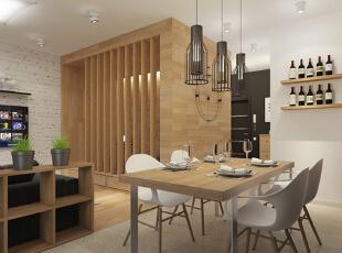 【餐厅】 由于小户型面积有限,开放式厨房以及与厨房合体的餐厅都是很省空间的设计。黑、白、木色的搭配有着现代简约的大方气质。,50平,5万,现代,一居,餐厅,原木色,