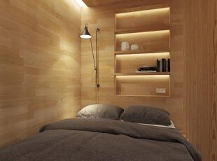 床头内嵌的置物架可以用来放置睡前读物和其他的小摆件,床边的镂空隔断让卧室和客厅在视线和空气上都有着良好的沟通。,50平,5万,现代,一居,卧室,原木色,