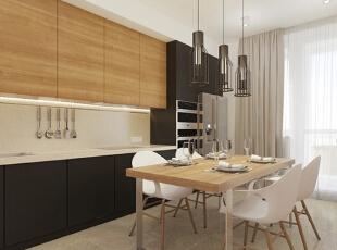 餐厅与客厅区域之间没有加大型隔断,而是完全开放连通的,对于小户型来说,这样的设计显得空间更大一些。,50平,5万,现代,一居,餐台,原木色,黑白,