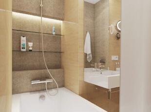 台盆延伸出来的区域可以放置洗漱或化妆用品,台盆下的挂杆用来挂毛巾,方便取用。,50平,5万,现代,一居,卫生间,黄色,