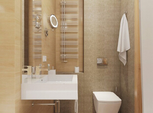 卫浴空间布局清晰,设计整洁美观,使用起来十分方便,有着舒适的居家体验。,50平,5万,现代,一居,卫生间,黄色,