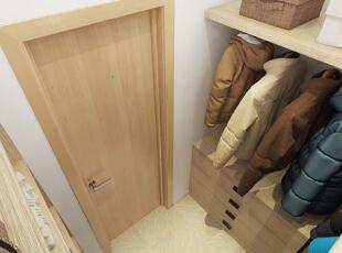 【衣帽间】 衣帽间用木板来打造衣柜和衣架,一股清新朴实的气息扑面而来,干净的环境很适合衣物的存放和整理。,50平,5万,现代,一居,衣帽间,原木色,