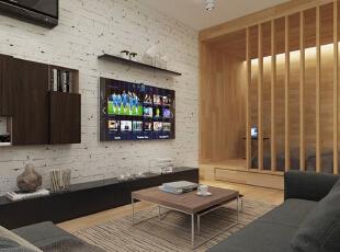 【客厅】 客厅区域的地面铺设了木地板,质感更亲切一些,而简约风格的地毯则带来了更加舒适的体验。深色的沙发似乎能够沉淀空间气质,组合式的茶几可以根据不同的需要来使用。,50平,5万,现代,一居,客厅,黑白,