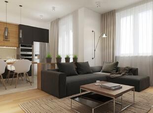 客厅旁边则是卧室,半镂空的隔断形式避免了空气不流通的全封闭式状态,视线也更加有穿透感。,50平,5万,现代,一居,客厅,黑白,