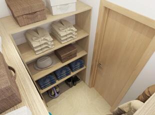 衣帽间用木板来打造衣柜和衣架,一股清新朴实的气息扑面而来,干净的环境很适合衣物的存放和整理。,50平,5万,现代,一居,衣帽间,原木色,