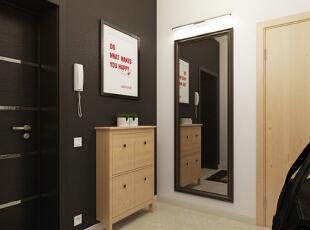 【玄关】 玄关处的两面墙运用了黑色与白色的对比,包括鞋柜的原木色,都是最基础的色彩搭配。墙上的装饰画显得很有现代创意,两盆小盆栽也有调节气氛的作用,显得十分清新。另一面墙上的大穿衣镜设置得恰到好处。,50平,5万,现代,一居,玄关,原木色,