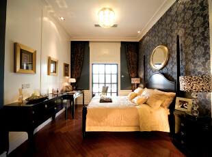 ,327平,40万,美式,别墅,卧室,黑白,