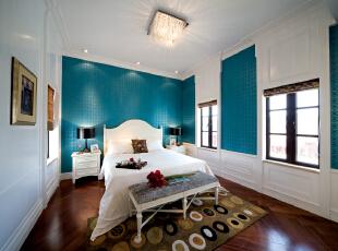 ,327平,40万,美式,别墅,卧室,白色,蓝色,