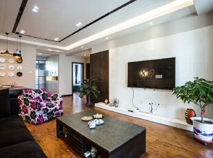 ,137平,4万,现代,三居,客厅,黑白,