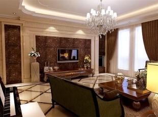 客厅:客厅开间比较大,有很大的设计空间,所以采用大部分造型制作,运用上些石材做为主体,壁纸做为装饰,来增强客厅整体美观效果。让空间更加灵动,视角也更加开阔。,欧式,王府壹号,客厅,王府壹号案例,客厅,原木色,