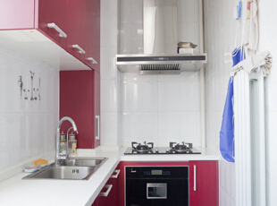 ,120平,15万,简约,两居,厨房,红色,白色,