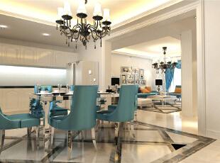 ,130平,6万,欧式,三居,餐厅,蓝色,白色,