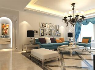 ,130平,6万,欧式,三居,客厅,蓝色,白色,