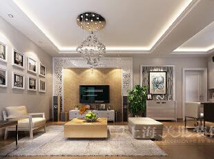 普罗旺世1号楼88平三室两厅现代简约风格装修效果图-客厅电视背景效果图,88平,7万,现代,三居,客厅,白色,黄色,