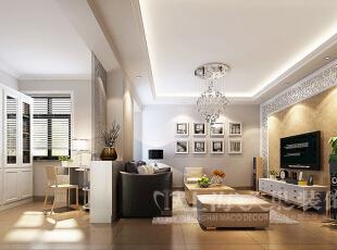 普罗旺世1号楼88平三室两厅现代简约风格装修效果图-客厅、书房效果图,88平,7万,现代,三居,客厅,黄色,